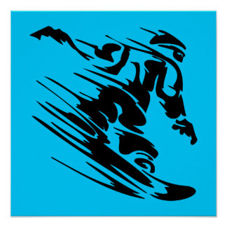 Aqua and Black Snowboarder Silhouette Posters