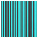 [ Thumbnail: Aqua and Black Stripes Fabric ]