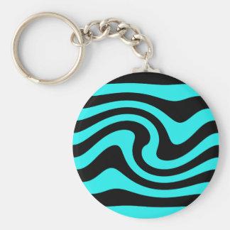 Aqua and black wave design keychain