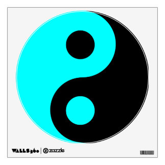 Aqua and Black Yin Yang Symbol Wall Sticker