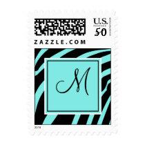 Aqua and Black Zebra Print Monogram Postage