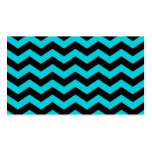 Aqua and Black Zig Zag Pattern Double-Sided Standard Business Cards (Pack Of 100)