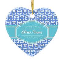 Aqua and Blue Owl Gray Personalized Name Ceramic Ornament