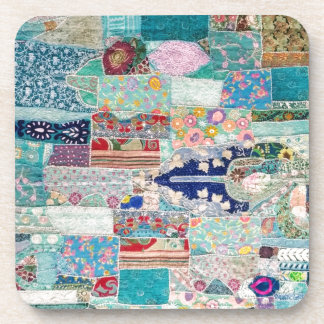 Aqua and Blue Quilt Tapestry Design Drink Coaster