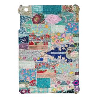 Aqua and Blue Quilt Tapestry Design iPad Mini Case