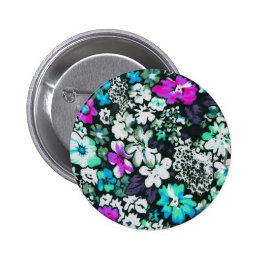 Aqua and Bright Pink Floral Print 2 Inch Round Button
