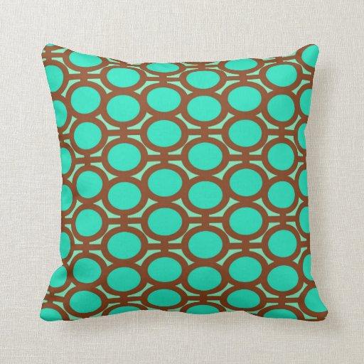 Aqua Brown Decorative Pillows : Aqua and Brown Bubble Eyelets Throw Pillows Zazzle