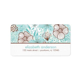 Aqua and Brown Florals Address Label