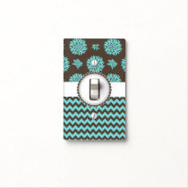 Aqua and Brown, Flowers and Chevron Light Switch Cover