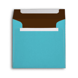 Aqua and Brown Lined Envelope