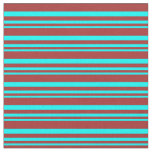 [ Thumbnail: Aqua and Brown Lines/Stripes Pattern Fabric ]