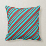 [ Thumbnail: Aqua and Brown Lines/Stripes Pattern Throw Pillow ]