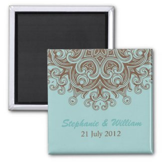Aqua and Brown Save The Date Magnet