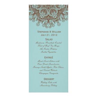 Aqua and Brown Wedding Menu Rack Card