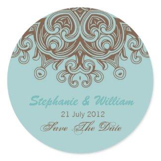 Aqua and Brown Wedding Sticker
