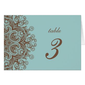 Aqua and Brown Wedding Table Number Card