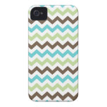 Aqua and Brown Zig Zag Chevrons Pattern iPhone 4 Case-Mate Case
