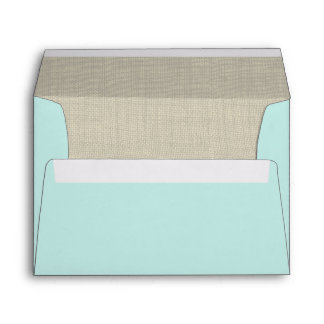Aqua and Burlap Envelope