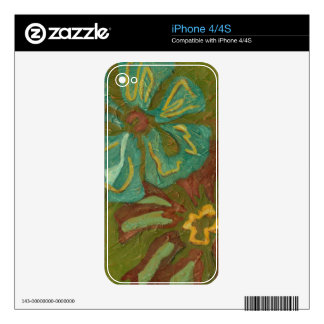 Aqua and Burnt Orange Flowers on Green Background Decal For The iPhone 4