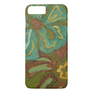 Aqua and Burnt Orange Flowers on Green Background iPhone 7 Plus Case