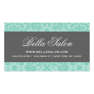 Aqua and Charcoal Gray Elegant Vintage Damask Double-Sided Standard Business Cards (Pack Of 100)