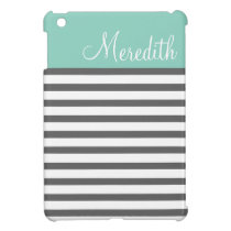 Aqua and Charcoal Preppy Stripes Custom Monogram iPad Mini Cover