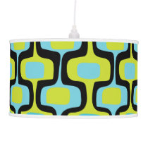 Aqua and Chartreuse Mid-Century Modern Pattern Ceiling Lamp