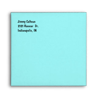 Aqua and Checkerboard Race Car Invitation Envelope