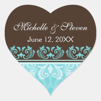 Aqua and chocolate brown damask wedding stickers