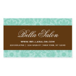 Aqua and Chocolate Brown Elegant Vintage Damask Double-Sided Standard Business Cards (Pack Of 100)