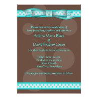 Aqua and Chocolate Brown Polka Dots Invitation