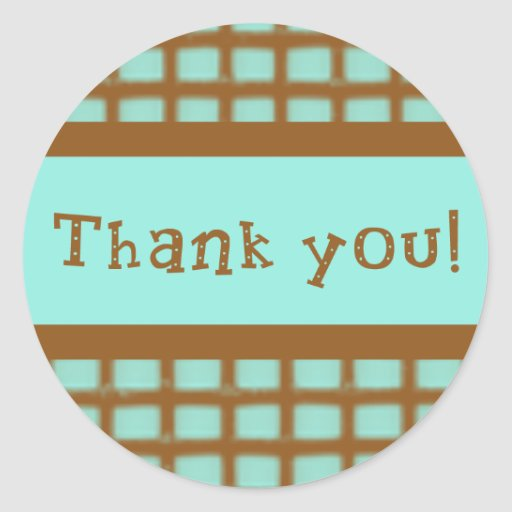 Aqua and Chocolate Brown Thank You Stickers
