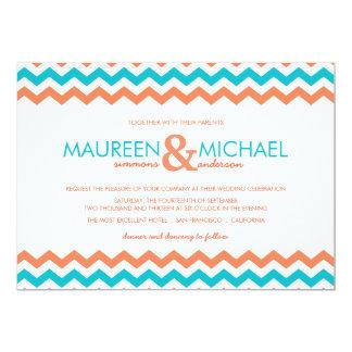 """Aqua and Coral Chevron ZigZag Wedding Invitation 5"""" X 7"""" Invitation Card"""