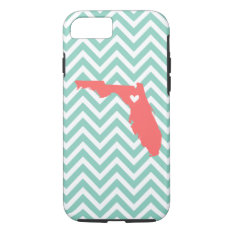Aqua And Coral Florida Love Chevron Monogram Iphone 7 Case at Zazzle
