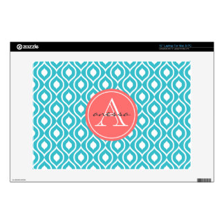 Aqua and Coral Gail Print Decal For Laptop