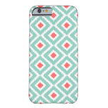 Aqua and Coral Ikat Diamonds Barely There iPhone 6 Case
