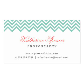 Aqua and Coral Modern Chevron and Polka Dots Double-Sided Standard Business Cards (Pack Of 100)