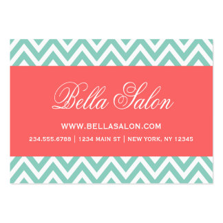 Aqua and Coral Modern Chevron Stripes Large Business Card