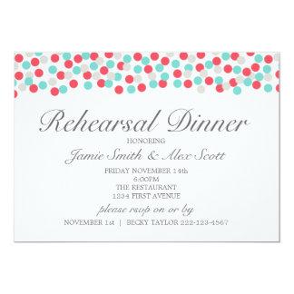 Aqua and Coral Polka Dot Rehearsal Dinner Invite