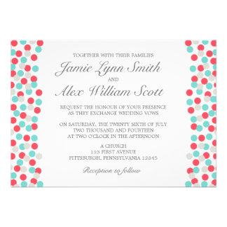 Aqua and Coral Polka Dot Wedding Invitation