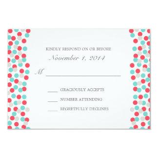 Aqua and Coral Polka Dot Wedding Response Card