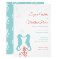 Aqua and Coral Seahorse Wedding Invitation