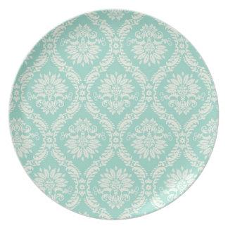aqua and cream fleur elegant damask dinner plate