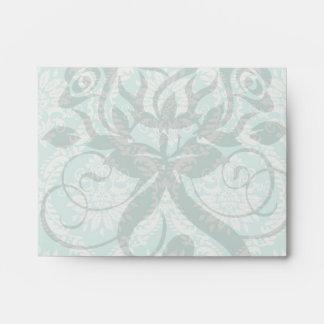 aqua and cream fleur elegant damask envelopes