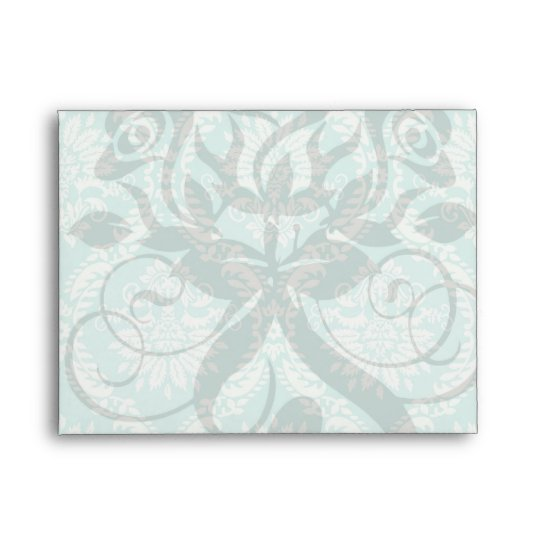 aqua and cream fleur elegant damask envelope
