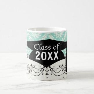 aqua and cream fleur elegant damask graduation mugs