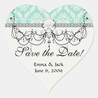 aqua and cream fleur elegant damask heart sticker