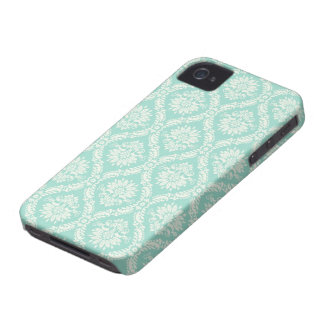 aqua and cream fleur elegant damask iPhone 4 case