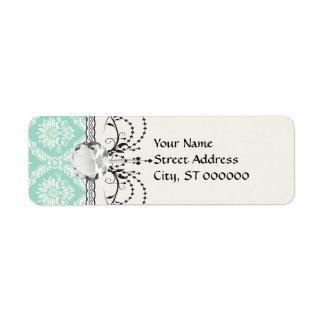 aqua and cream fleur elegant damask label