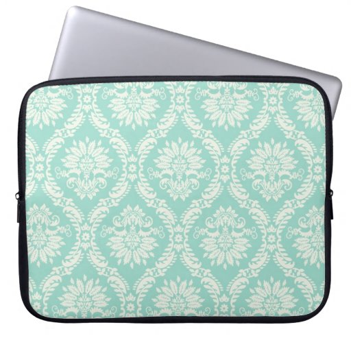 aqua and cream fleur elegant damask laptop computer sleeves